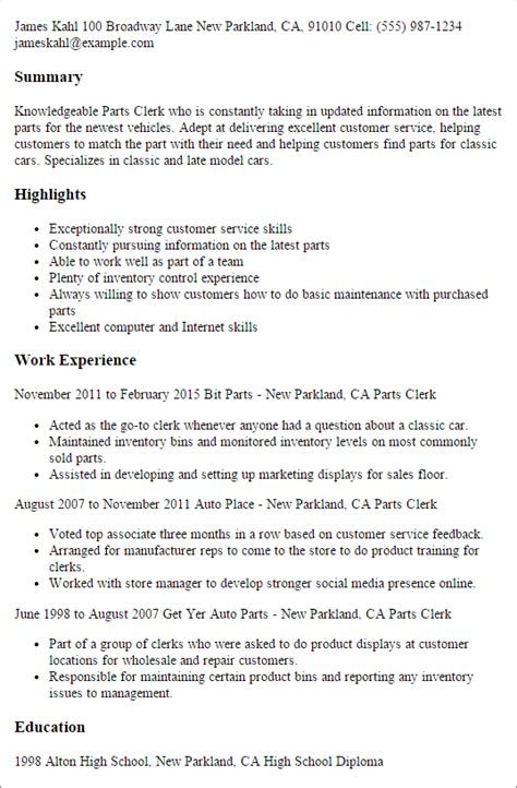professional parts clerk templates to showcase your talent