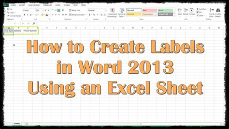 how to use word how to create labels in word 2013 using an excel sheet