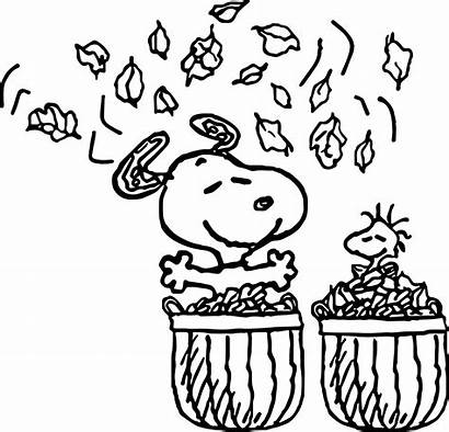 Coloring Fall Leaves Snoopy Printable