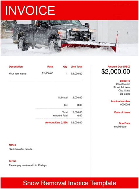 snow removal invoice template   send