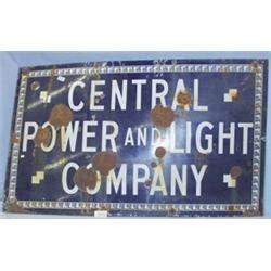 central power and light 1 central power and light co porcelain on metal sign h36