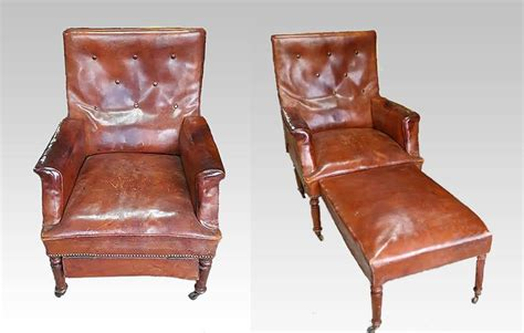 French Leather Club Chair Reclining Armchair Recliner