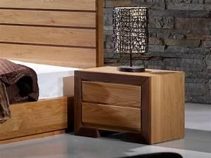 Chevet Bois Massif : table de chevet ruban en chene massif et bois de noyer ~ Teatrodelosmanantiales.com Idées de Décoration