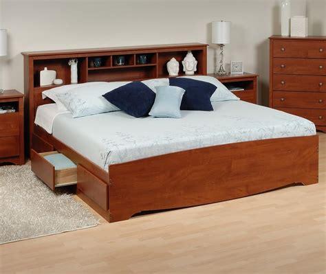platform storage bed  bookcase headboard
