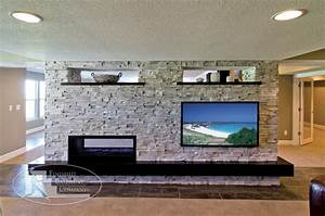 Modern basement tv wall fireplace living room