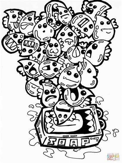 Doodle Coloring Pages Soap Bubbles Printable Drawing