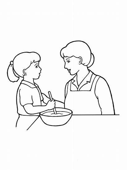 Mother Child Drawing Mom Cooking Woman Working