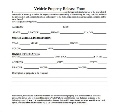 sample property release forms   ms word