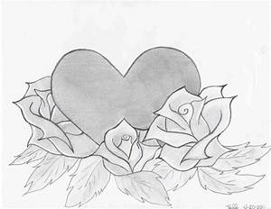 Cool Drawings Of Hearts With Roses And Wings Rose ...