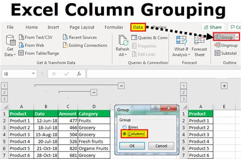 excel columns column grouping unhide hide proxi dev