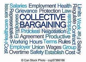 Collective bargaining word cloud on white background stock ...