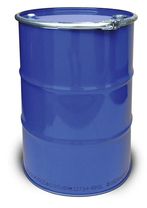 stahl deckelfass mit 212 liter volumen innen roh au 223 en lackiert