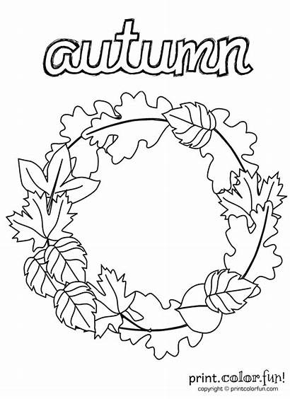 Wreath Coloring Autumn Fall Pages Printables Printable