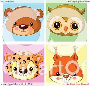 Clipart Cute Bear Owl Leopard And Squirrel Avatar Faces ...