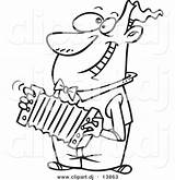 Cartoon Clipart Accordion Playing Outline Coloring Happy Guy Listen Listening Leishman Dj Toonaday Ron Mu Comptons Clipground sketch template