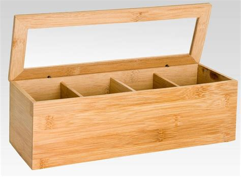Wooden Bamboo Tea Box 4 Sections Compartments Container
