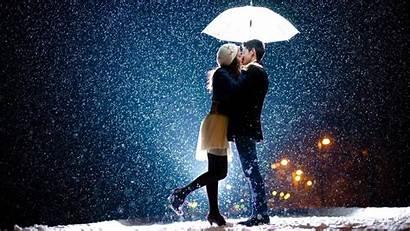 Couple Rain Romantic Wallpapers Desktop Happy Kiss