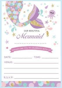 childrens mermaid theme birthday invitations invites childs ebay