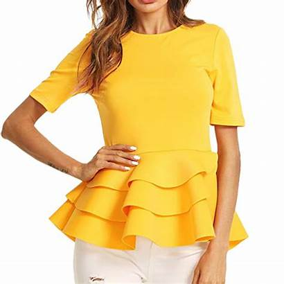 Blouses Yellow Tops Blouse Peplum Ruffle Sleeve
