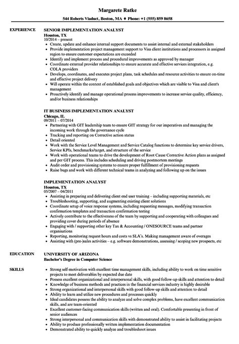 Implementation Consultant Resume by Implementation Analyst Resume Sles Velvet