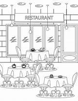 Coloring Restaurant Coloriage Imprimer Restaurants Tous Colorir Adult Artherapie sketch template