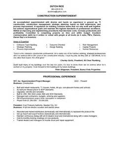 resume for construction assistant superintendent superintendent resume sales superintendent