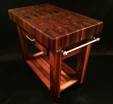 Black walnut end grain butcher block cart 36x24x4 inch top