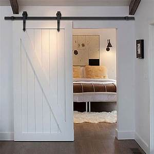 New 6 ft black modern antique style sliding barn wood door for Barnwood pocket door
