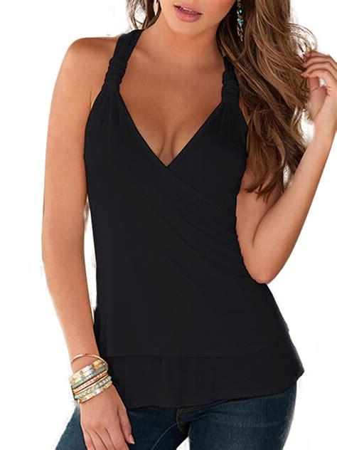 Lallc - Women's Sleeveless Halter Neck Tops Plain Lace ...