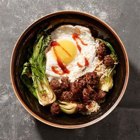 minced beef  bok choy  fried egg recipe myrecipes