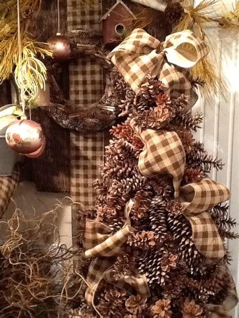 Pine Cone Door Decoration by Pine Cone Tree With Burlap Check Ribbon Trendy Tree Blog