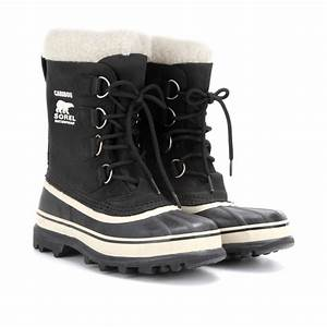 Sorel Caribou Leather and Rubber Boots in Black | Lyst