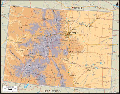 physical map  colorado ezilon maps