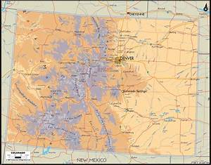 Physical Map of Colorado - Ezilon Maps