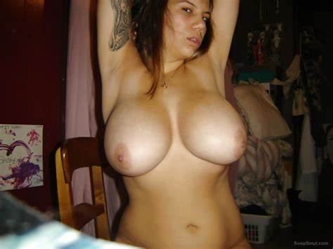 Big Chested Wife Shows Them Everything Messy Mother With Huge Fakes Round Firm Nipples Likes To Flash