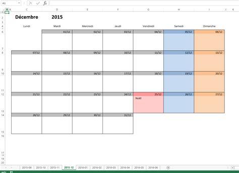 modèle planning hebdomadaire excel gratuit calendrier mensuel excel modifiable et gratuit excel