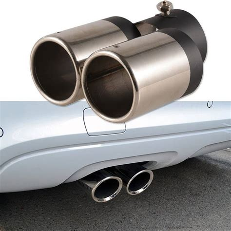 Y-pipe Dual Car Stainless Steel Chrome Round Tail Muffler