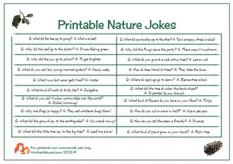 nature bonbon ideas with free printable nature jokes