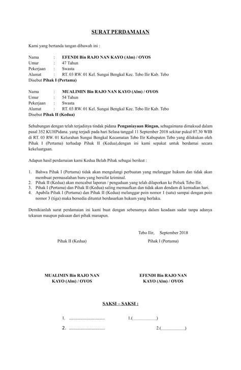contoh surat orton surat perjanjian damai