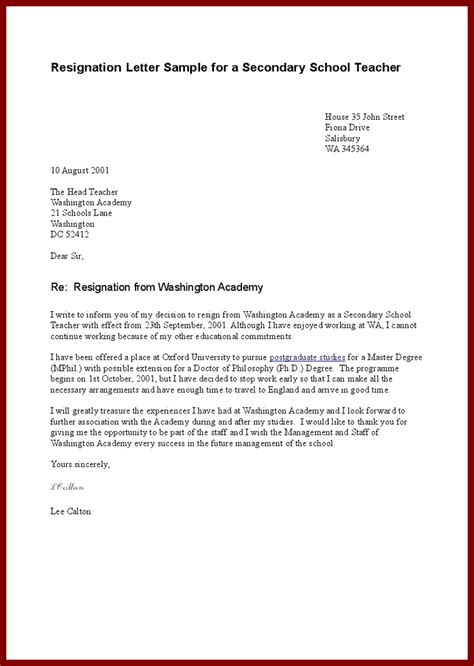 resignation letter   school yahoo image search