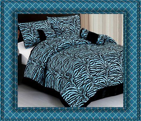 7pc blue zebra animal print comforter bedding set king bed