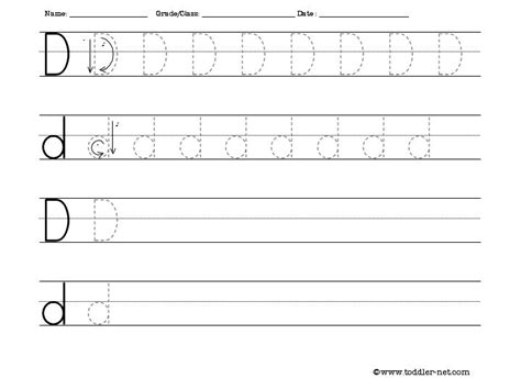 tracing and writing letter d worksheet