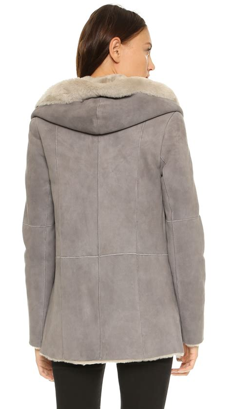 color block hooded coat vince hooded shearling coat in gray lyst