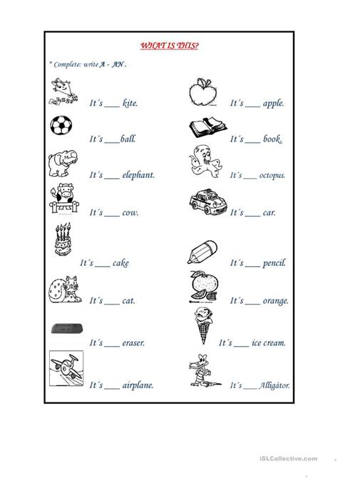 indefinite articles worksheet free esl printable