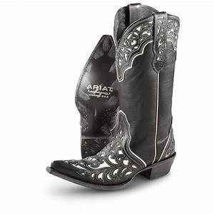 "Women's Ariat® 13"" Presidio Cowboy Boots, Black / Cream ..."