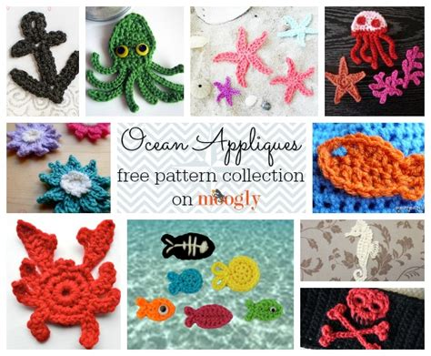 crochet ocean applique patterns  fish  anchors