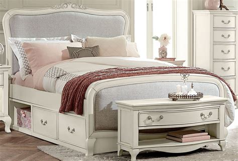 size bed with storage kensington antique white katherine upholstered panel 20025