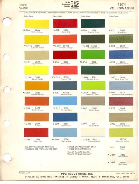 paint chips 1974 beetle vw volkswagen vw renk
