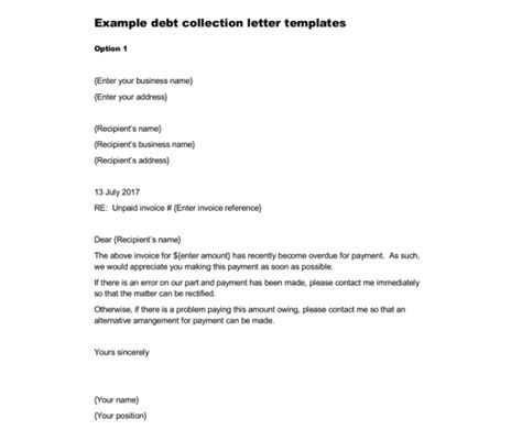 sample debt collection letter templates  debtors