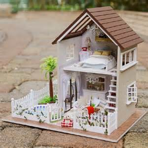 fresh miniature home models diy 3d wooden doll house furniture wood dolls light